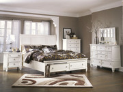 Ashley Prentice White 7 Pc. Dresser, Mirror, Chest, Queen Sleigh Storage Bed & Nightstand