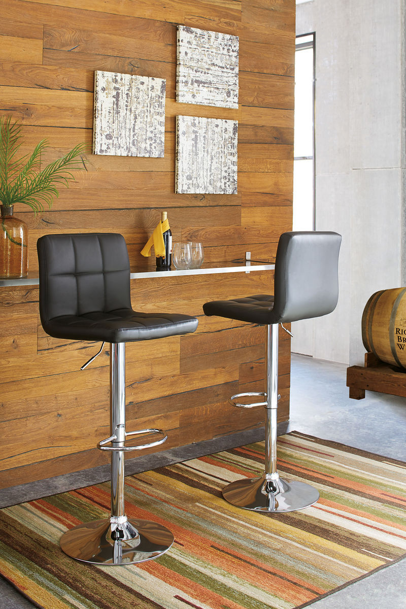 Groovy Ashley Adjustable Height Barstools Black Chrome Finish Tall Upholstered Swivel Barstool Pabps2019 Chair Design Images Pabps2019Com