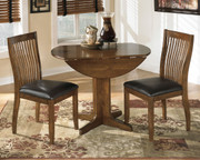 Stuman Medium Brown 3 Pc. Round Drop Leaf Table & 2 Upholstered Side Chairs