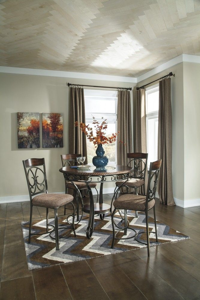 Ashley Glambrey 5 Pc. Round Dining Room Counter Table & 4 Bar Stools
