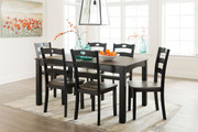 Ashley Froshburg Grayish Brown/Black Dining Room Table Set (7/CN)