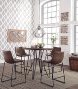 Centiar Two-tone Brown 5 Pc. Round Dining Room Counter Table & 4 Upholstered Barstools