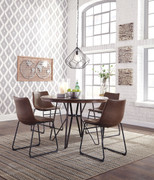 Ashley Centiar Two-tone Brown 5 Pc. Round Dining Room Table & 4 Upholstered Side Chairs