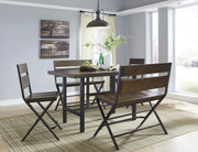 Ashley Kavara Medium Brown 5 Pc. Rectangular Dining Room Counter Table, 2 Barstools & 2 Double Barstools