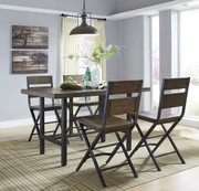 Kavara Medium Brown 5 Pc. Rectangular Dining Room Counter Table & 4 Barstools