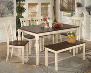 Ashley Whitesburg 6 Pc Rectangular Dining Room Table, 4 Side Chairs & Bench