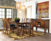 Ashley Ralene Medium Brown 8 Pc. Rectangular Dining Room Butterfly Extension Table, 6 Upholstered Side Chairs & Server
