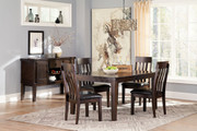 Ashley Haddigan Dark Brown 6 Pc. Rectangular Dining Room Extension Table, 4 Upholstered Side Chairs & Server