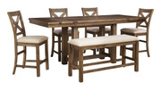 Ashley Moriville Gray 6 Pc. Rectangular Dining Room Counter Extension Table, 4 Upholstered Barstools & Double Upholstered Bench