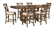 Moriville Gray 7 Pc. Rectangular Dining Room Counter Extension Table & 6 Upholstered Barstools