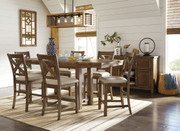 Ashley Moriville Gray 8 Pc. Rectangular Dining Room Counter Extension Table, 6 Upholstered Barstools & Server