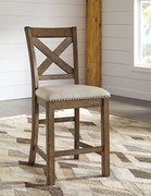 Ashley Moriville Beige Upholstered Barstool