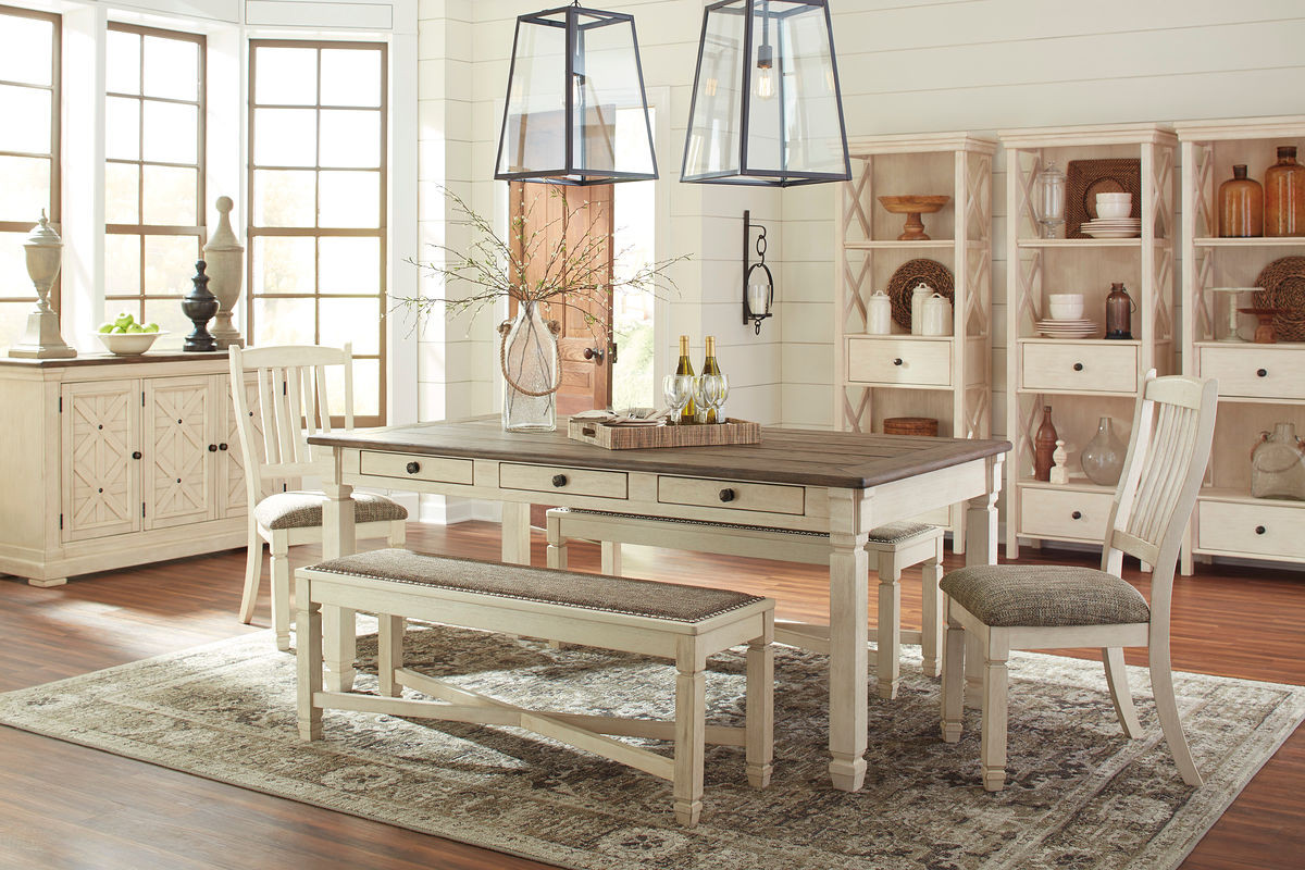 Ashley Bolanburg Antique White 9 Pc Rectangular Dining Room Table 2 Upholstered Side Chairs Upholstered Bench 2 Dining Room Server 3 Display Cabinets On Sale At Lakeland Furniture Mattress Serving