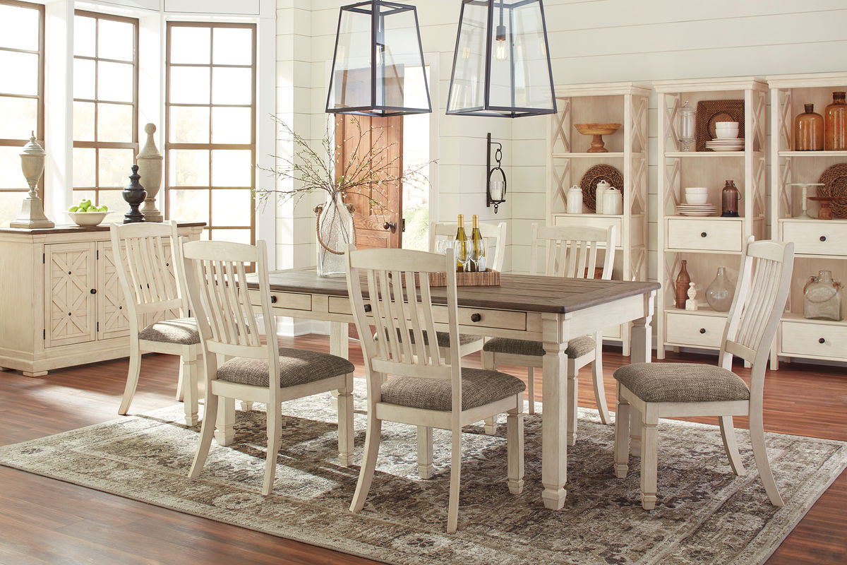 Ashley Bolanburg Antique White 11 Pc Rectangular Dining Room Table