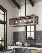 Ashley Jodene Brown/Black Wood Pendant Light