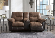 Ashley Follett Coffee Double Rec Loveseat with Console
