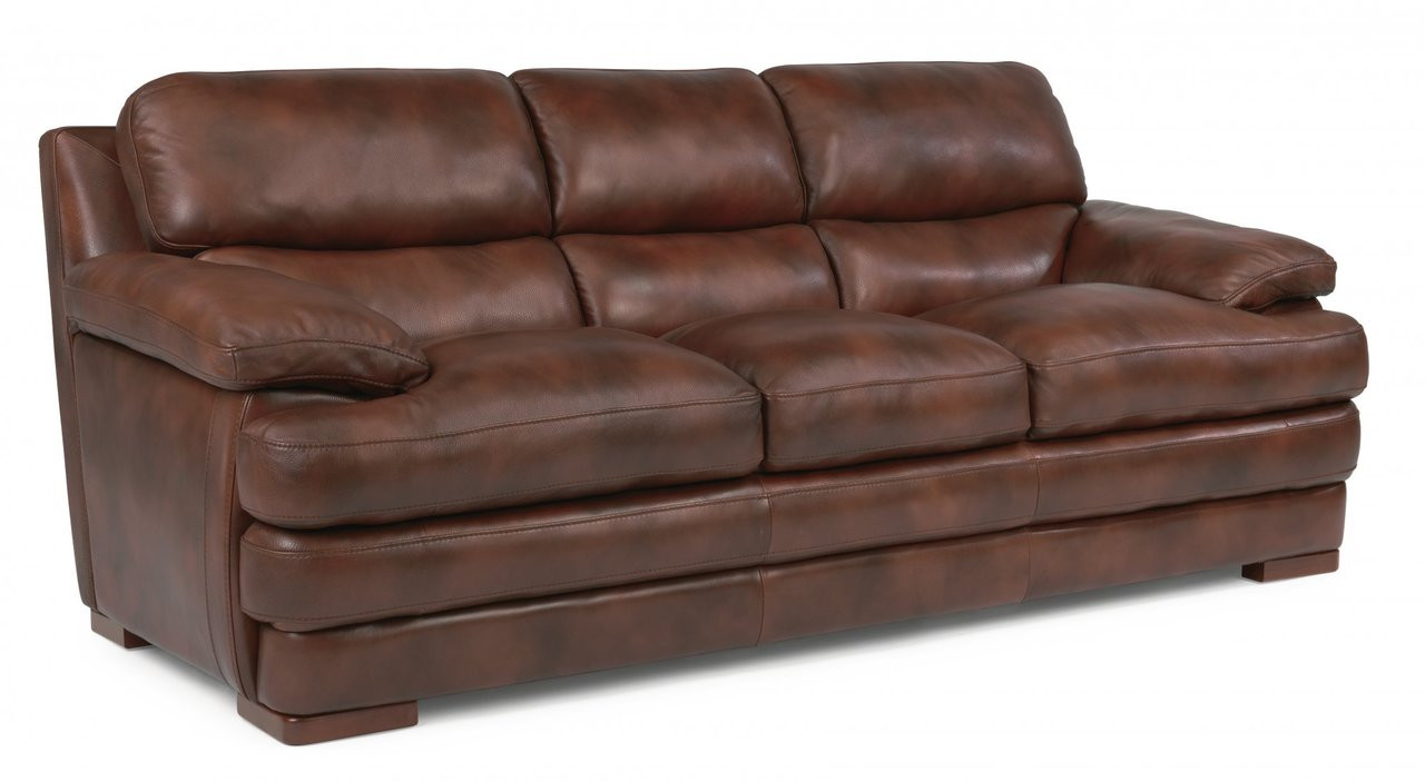 Flexsteel Dylan Leather Three Cushion Sofa/Couch without Nailhead Trim