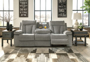 Ashley Mitchiner Fog Reclining Sofa/Couch w/ Drop Down Table