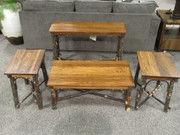 Amish Solid Hickory with Solid Elm Top Occasional tables