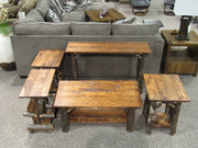 Amish Solid Hickory Occasional Group with Hand Hewn Maple Tops