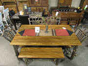 Amish 6 Pc Solid Hickory with Solid Elm Dining Set