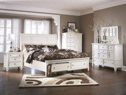 Ashley Prentice White 7 Pc. Dresser, Mirror, Door Chest, California King Sleigh Storage Bed & Nightstand