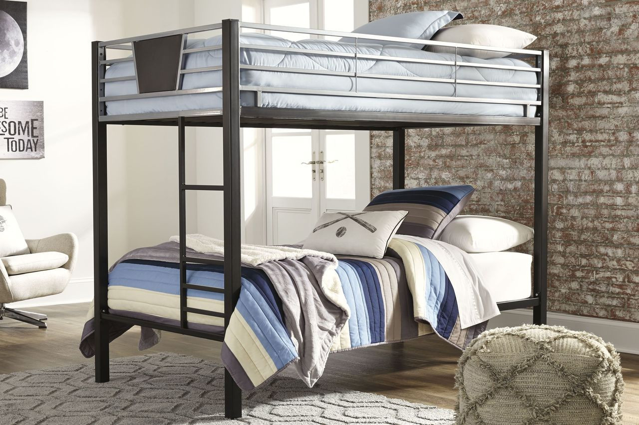 Picture of: Ashley Dinsmore Black Gray Twin Twin Bunk Bed W Ladder On Sale At Lakeland Furniture Mattress Serving Antigo Minocqua And Rhinelander Wi