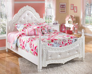 Ashley Exquisite White Full Padded Poster Bed