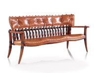 """60"""" W Sofa bench brown Italian leather soft backrest solid polished wood frame"""