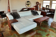 """138"""" Oversize sofa sectional unique Italian white leather steel frame palm wood"""