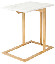 White brown marble stainless steel Side Table