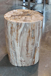 "16"" H x 13 x 13 petrified wood stool black gray white yellow full polish 366V"
