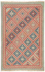 2' x 3' Area Rug Rectangle Red Blue Anatolia Ottoman AT01 Handmade Dhurrie Southwestern