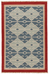 2' x 3' Area Rug Rectangle Blue Red Anatolia Sultan AT03 Handmade Dhurrie Southwestern