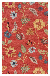 2' x 3' Area Rug Rectangle Red Multicolor Blue Garden Party BL05 Handmade Hand-Tufted