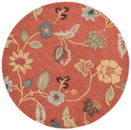 8' x Area Rug Round Red Multicolor Blue Garden Party BL05 Handmade Hand-Tufted