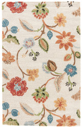 5' x 8' Area Rug Rectangle White Multicolor Blue Garden Party BL33 Handmade Hand-Tufted
