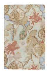5' x 8' Area Rug Rectangle Green Multicolor Blue Petal Pusher BL71 Handmade Hand-Tufted