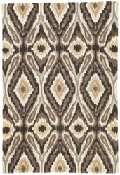 """7'6"""" x 9'6"""" Area Rug Rectangle Brown White Brio Pattern Play BR26 Handmade Hand-Tufted"""