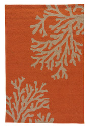 "3'6"" x 5'6"" Area Rug Rectangle Orange Taupe Grant I-O Bough Out GD01 Handmade"
