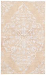 5' x 8' Area Rug Rectangle Beige Silver Heritage Chantilly HR07 Handmade Hand-Knotted