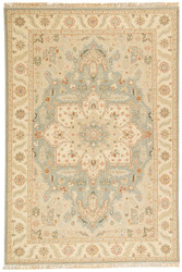 2' x 3' Area Rug Rectangle Light Blue Beige Jaimak Barda JM06 Handmade Hand-Knotted