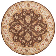 8' x Area Rug Round Brown Gold Mythos Maia MY01 Handmade Hand-Tufted Traditional Vintage
