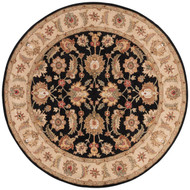 10' x Area Rug Round Black Beige Mythos Selene MY03 Handmade Hand-Tufted Traditional