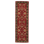 "2'6"" x 8' Area Rug Runner Red Black Mythos Anthea MY08 Handmade Hand-Tufted Traditional"