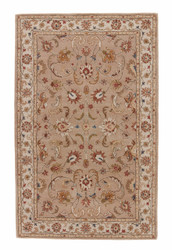 5' x 8' Area Rug Rectangle Beige Brown Poeme Normandy PM38 Handmade Hand-Tufted