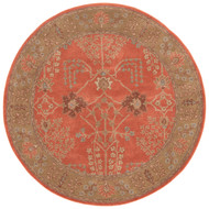 8' x Area Rug Round Orange Brown Poeme Chambery PM51 Handmade Hand-Tufted Traditional