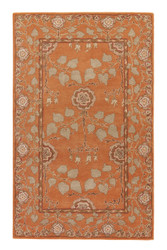 2' x 3' Area Rug Rectangle Orange Taupe Poeme Rodez PM57 Handmade Hand-Tufted