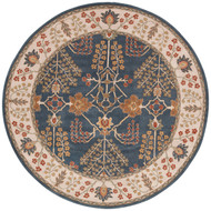 8' x Area Rug Round Blue Multicolor Poeme Chambery PM82 Handmade Hand-Tufted Traditional