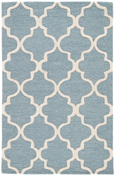 8' x 11' Area Rug Rectangle Blue White City Miami CT28 Handmade Hand-Tufted Moroccan